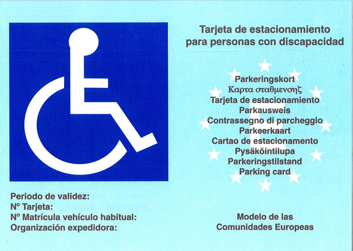 Tarjeta de estacionamiento para personas con discapacidad. Modelo de las Comunidades Europeas