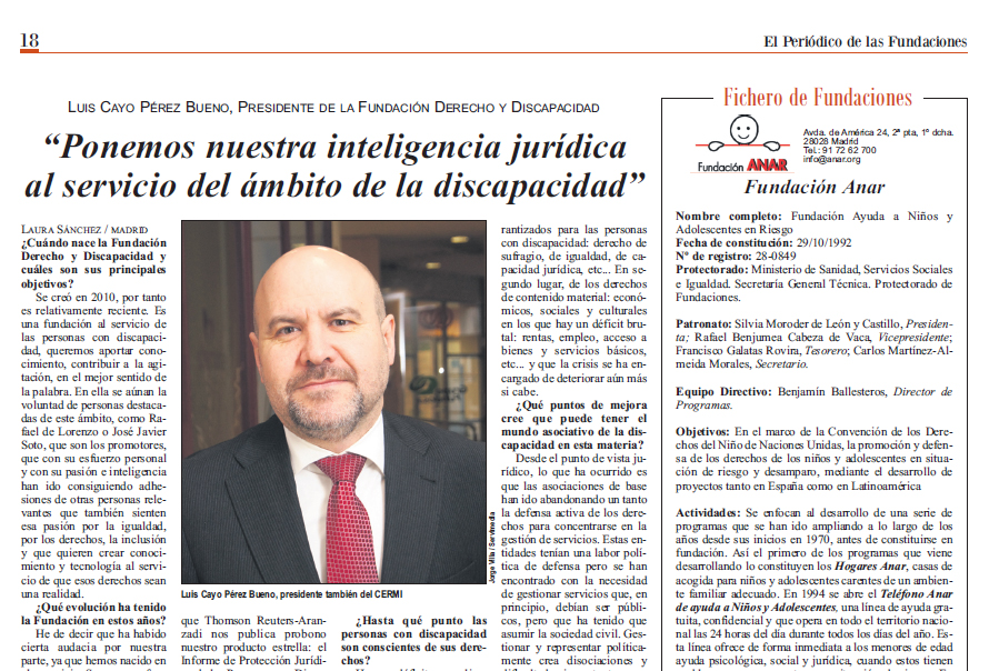 Entrevista al presidente de la Fundación Derecho y Discapacidad en el Periódico de las Fundaciones