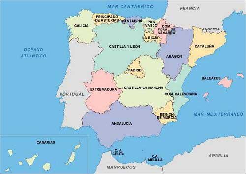 Mapa con las comunidades autónomas