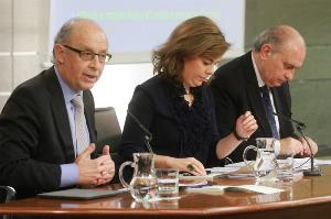 El ministro de Hacienda y Administraciones Públicas, Cristóbal Montoro, tras el Consejo de Ministros en el que presentó el Informe sobre la programación de los fondos estructurales