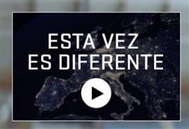 """Imagen de la web de las elecciones europeas con el vídeo """"esta vez es diferente"""""""