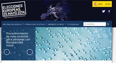Imagen de la web del Ministerio de Interior sobre las elecciones europeas 2014