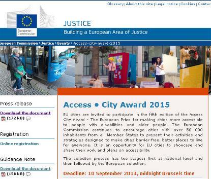 Imagen de la web sobre el Premio Capital Europea de la Accesibilidad