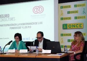 José Martínez, presidente del Consejo Territorial de la ONCE en Castilla-La Mancha interviene en la jornada sobre fondos europeos